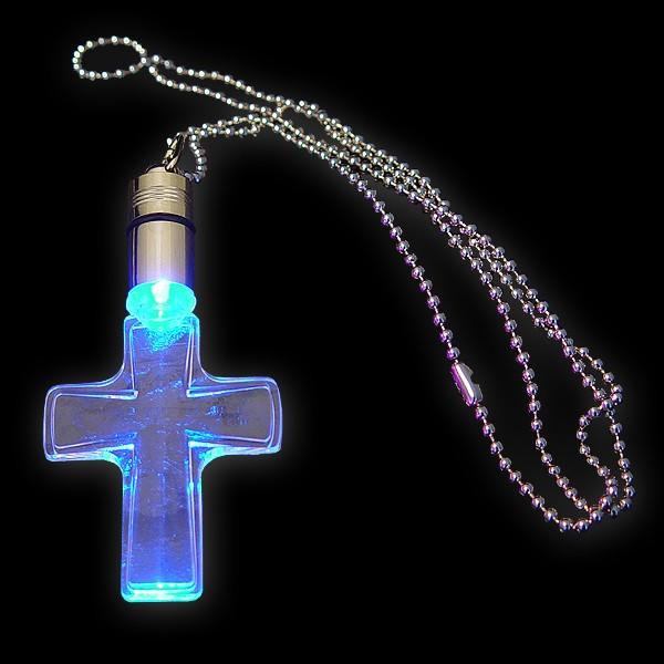 """LED Power Light Halskette """"Kreuz Blau"""""""