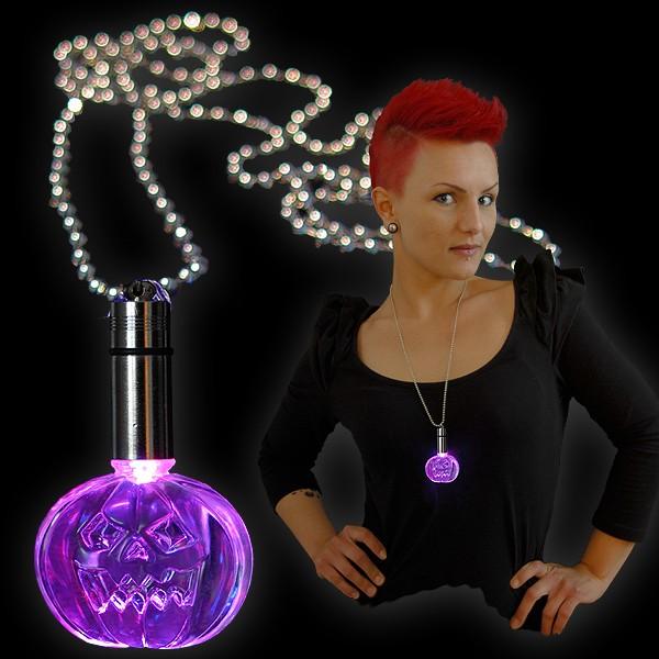 "LED Power Light Halskette ""Kürbis Blau/Rot"""