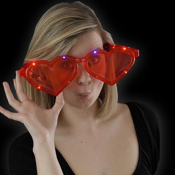 "LED Jumbo Herz Brille ""Rot"""