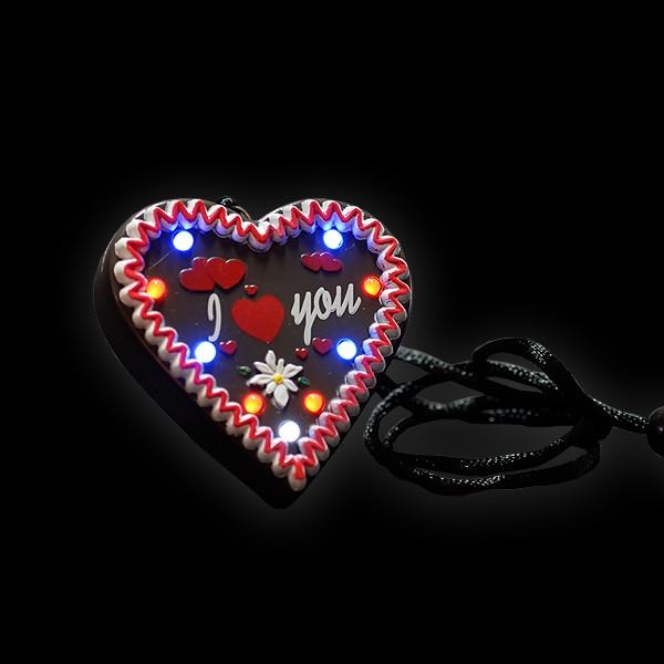 """LED Lebkuchenherz """"I Love You"""""""