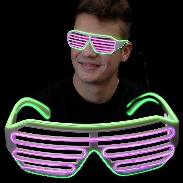 """EL Neon Brille """"Jail Grün/Pink"""""""