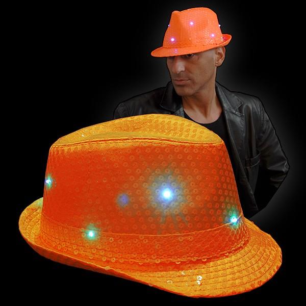 """LED Paillettenhut """"Neon Orange"""""""