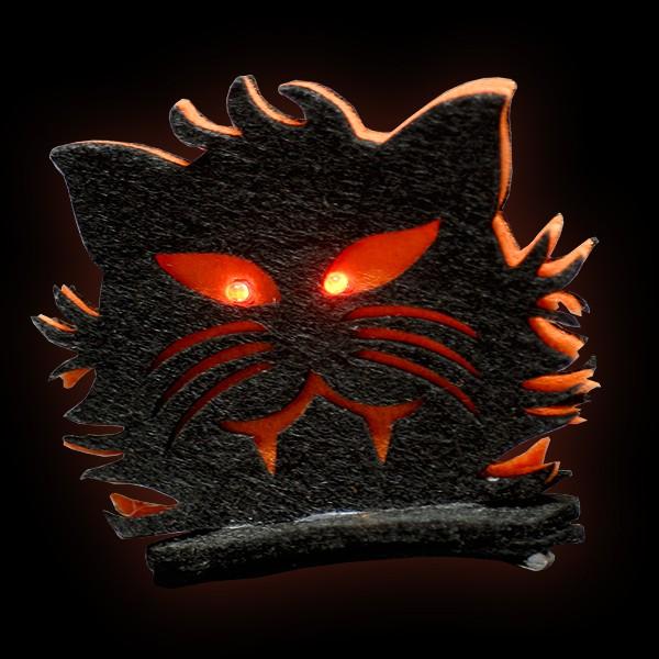 "LED Halloween Haarklammer ""Katze"""