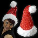 """Weihnachtsmütze """"Samt Mit Glitzer Rot"""""""