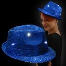 "LED Paillettenhut ""Blau"""