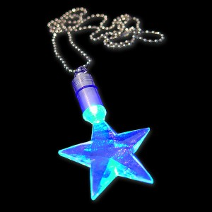 "LED Power Light Halskette ""Stern Blau"""