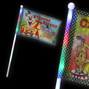 "LED Fahne ""Circus Clown & Elefant"""