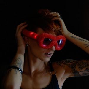 "LED Leuchtbrille ""Party Plüsch Rot"""