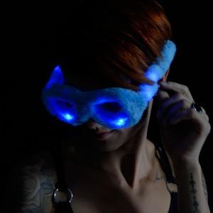 "LED Leuchtbrille ""Party Plüsch Blau"""