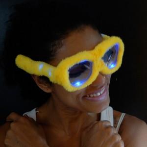 """LED Leuchtbrille """"Party Plüsch Gelb"""""""