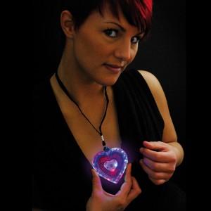 """LED Glitter Herz """"Blau/Rot"""""""