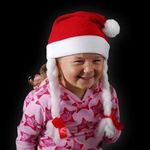 """Kinder Weihnachtsmütze """"Mit Zöpfen"""""""
