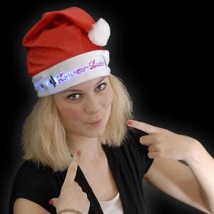 """Weihnachtsmütze mit Glasfasertechnik """"Lametta Luder"""""""