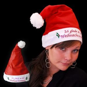 """Weihnachtsmütze mit Glasfasertechnik """"Ich Glaube An Den Weihnachtsmann"""""""