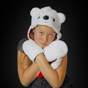 Eisbärenmütze Mit Schal & Fäustlingen