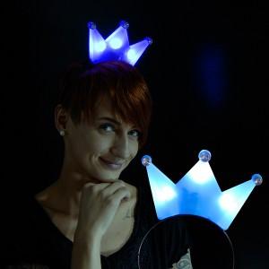 """LED Haarreif Krone """"Blau"""""""