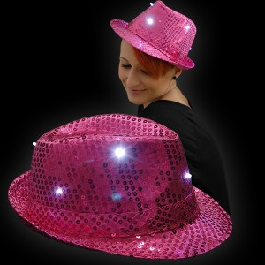 "LED Paillettenhut ""Pink"""