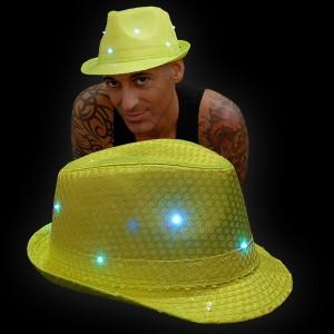 "LED Paillettenhut ""Neon Gelb"""