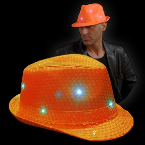 "LED Paillettenhut ""Neon Orange"""