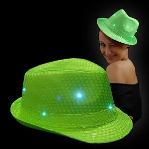 "LED Paillettenhut ""Neon Grün"""