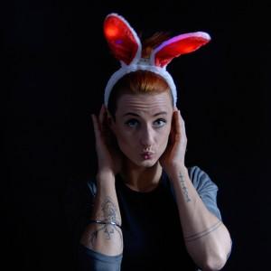 "LED Haarreif Plüsch Bunny ""Rot"""