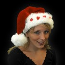 "Red Plush Santa Hat ""5 Blinking Hearts Red"""
