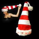 """Christmas Hat Red/White """"Curled With 5 Red Stars"""""""
